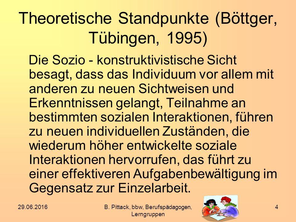 29.06.2016B. Pittack, bbw, Berufspädagogen, Lerngruppen 4 Theoretische Standpunkte (Böttger, Tübingen, 1995) Die Sozio - konstruktivistische Sicht bes