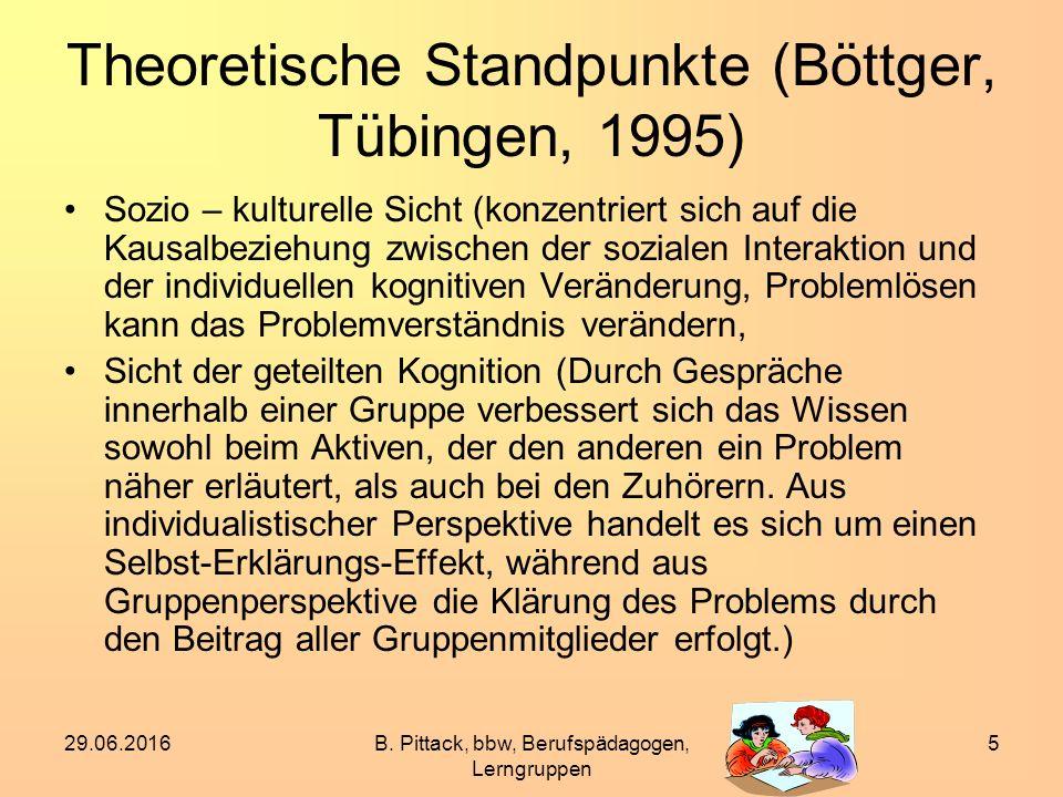 29.06.2016B. Pittack, bbw, Berufspädagogen, Lerngruppen 5 Theoretische Standpunkte (Böttger, Tübingen, 1995) Sozio – kulturelle Sicht (konzentriert si