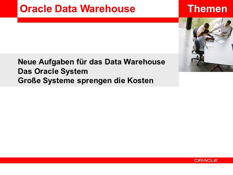 Neue Aufgaben für das Data Warehouse Das Oracle System Große Systeme sprengen die Kosten ThemenOracle Data Warehouse