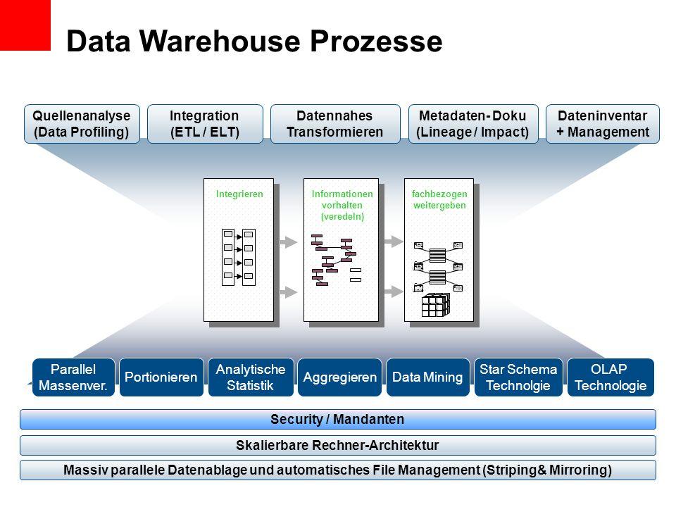 Quellenanalyse (Data Profiling) Datennahes Transformieren Dateninventar + Management Parallel Massenver. PortionierenData Mining Star Schema Technolgi