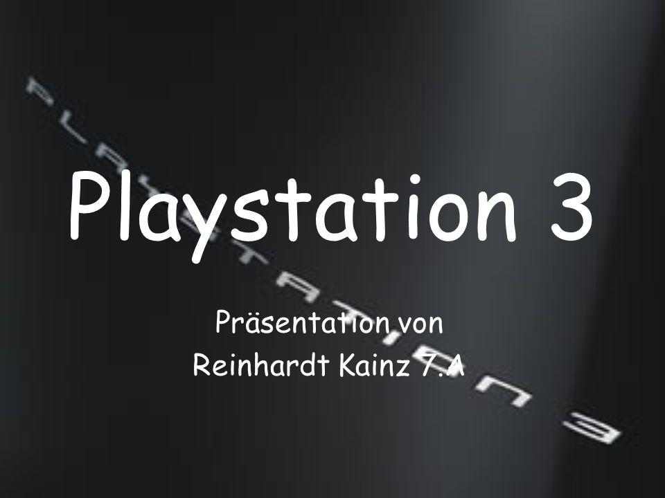Allgemein Ist eine Konsole von Sony Computer Entertainment und offizieller Nachfolger der Playstation 2 In Europa bisher als 60 GB und 40 GB Version erschienen (60 GB Version ist nicht mehr erhältlich) 60 GB Version war in der Lage auch PS 2-Spiele abzuspielen Spiele sind eine Blu-ray Disc Kosten: 399.99 € (40 GB Version) 49.99 € (SIXAXIS-Controller) 55-70 € (Spiele)