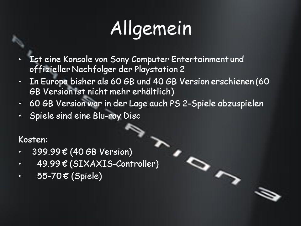 Zubehör SIXAXIS-Controller Bluetooth-Fernbedinung Playstation Eye SingStar-Mikrofone Gitarre Geplantes Zubehör: DualShock3 DVB-T