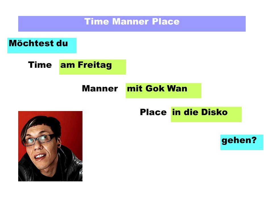 Time Manner Place Möchtest du am Freitag mit Gok Wan in die Disko gehen Time Manner Place