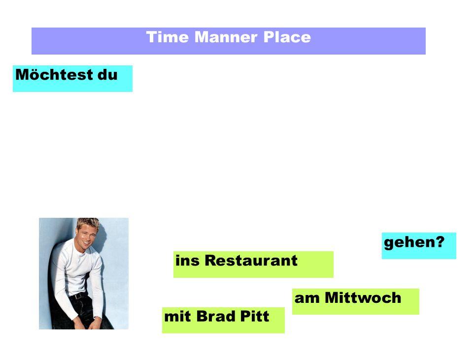 Time Manner Place Möchtest du am Mittwoch mit Brad Pitt ins Restaurant gehen?