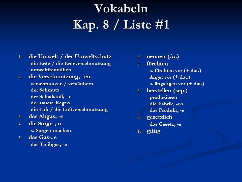 Vokabeln Kap. 8 / Liste #1 1.