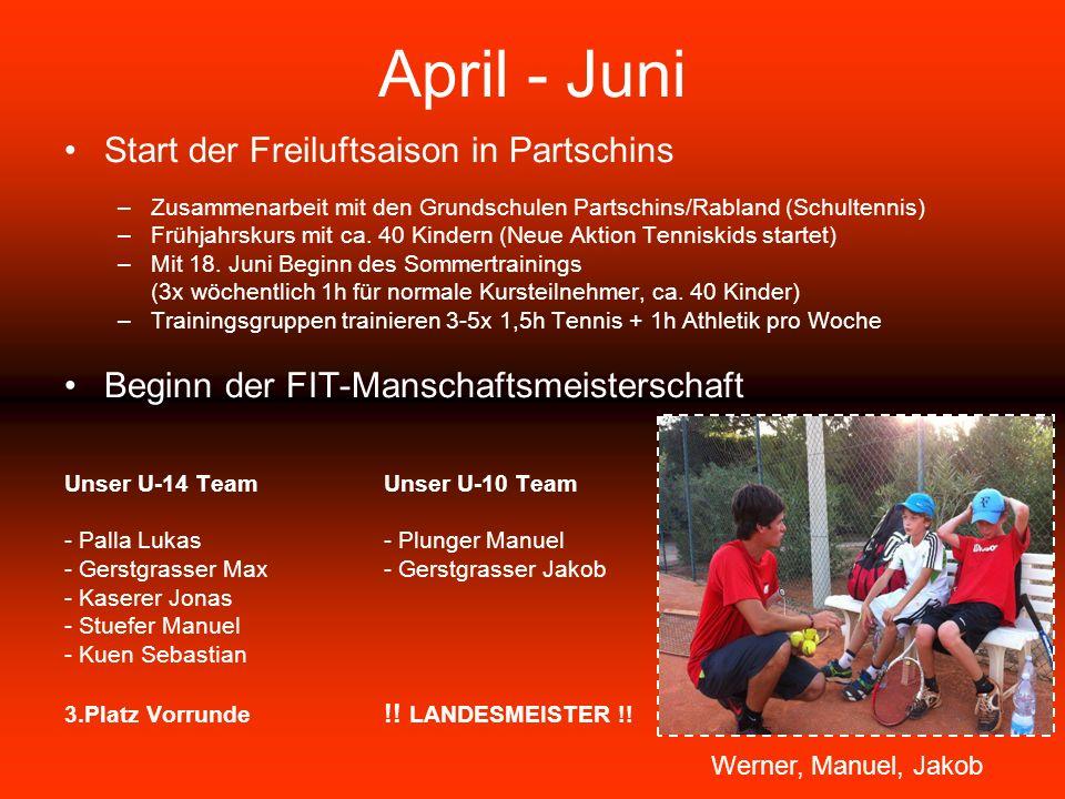 April - Juni Start der Freiluftsaison in Partschins –Zusammenarbeit mit den Grundschulen Partschins/Rabland (Schultennis) –Frühjahrskurs mit ca.