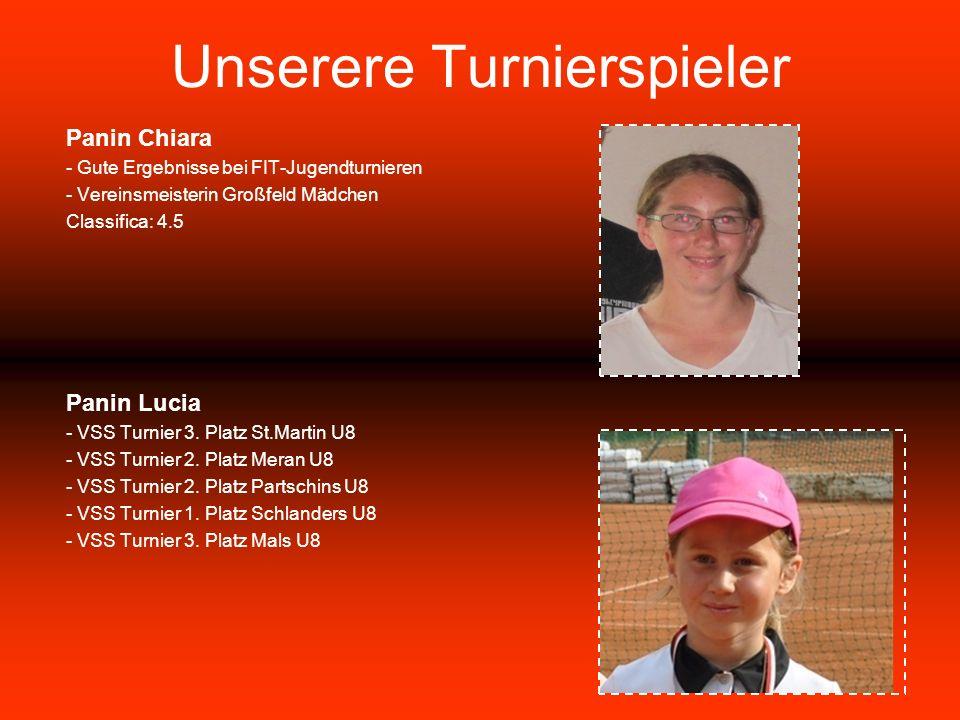 Unserere Turnierspieler Panin Chiara - Gute Ergebnisse bei FIT-Jugendturnieren - Vereinsmeisterin Großfeld Mädchen Classifica: 4.5 Panin Lucia - VSS Turnier 3.