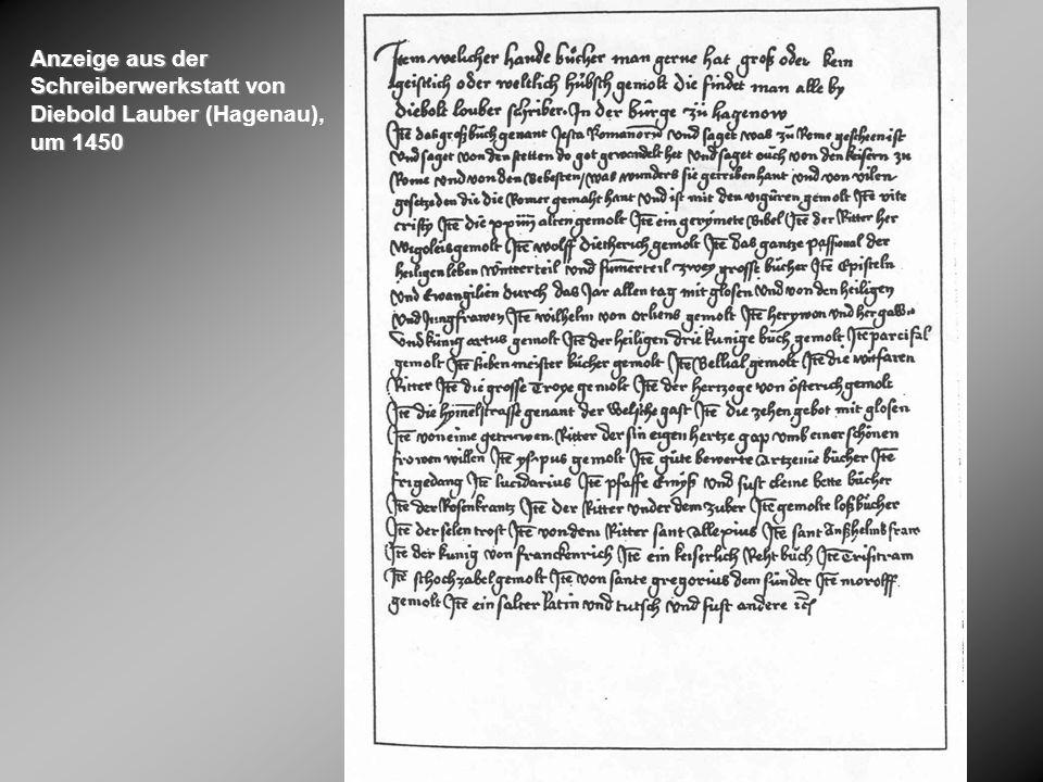 Anzeige aus der Schreiberwerkstatt von Diebold Lauber (Hagenau), um 1450