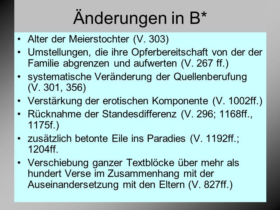 Änderungen in B* Alter der Meierstochter (V.