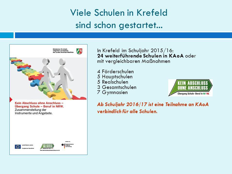 Viele Schulen in Krefeld sind schon gestartet... In Krefeld im Schuljahr 2015/16: 24 weiterführende Schulen in KAoA oder mit vergleichbaren Maßnahmen