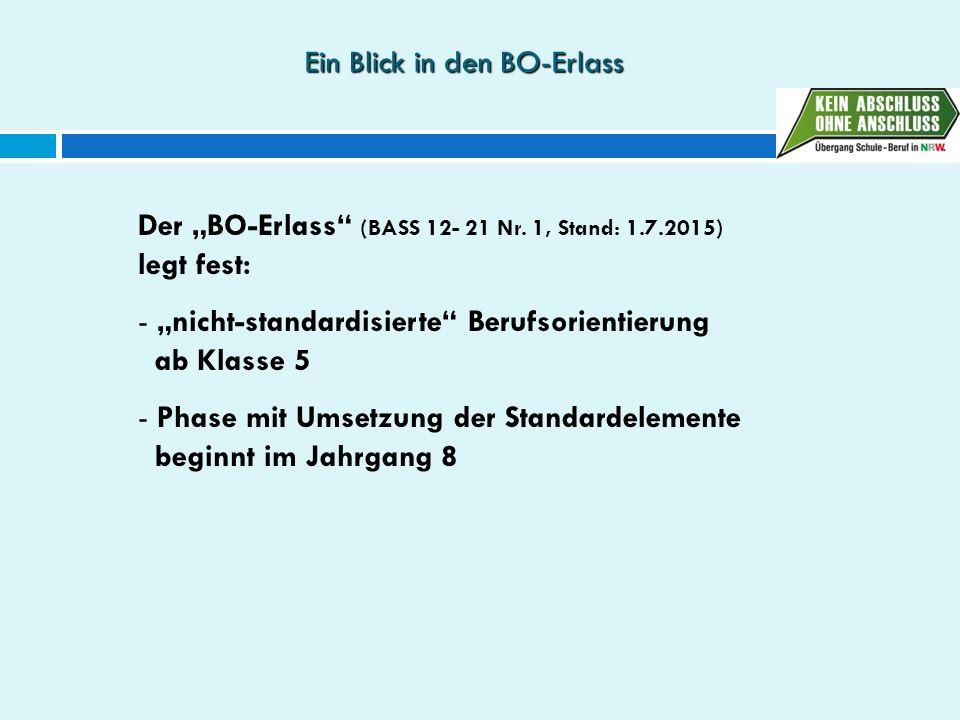 """Ein Blick in den BO-Erlass Der """"BO-Erlass"""" (BASS 12- 21 Nr. 1, Stand: 1.7.2015) legt fest: - """"nicht-standardisierte"""" Berufsorientierung ab Klasse 5 -"""