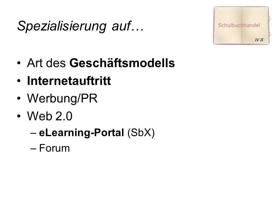 Spezialisierung auf… Art des Geschäftsmodells Internetauftritt Werbung/PR Web 2.0 –eLearning-Portal (SbX) –Forum