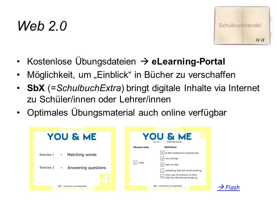 """Web 2.0 Kostenlose Übungsdateien  eLearning-Portal Möglichkeit, um """"Einblick in Bücher zu verschaffen SbX (=SchulbuchExtra) bringt digitale Inhalte via Internet zu Schüler/innen oder Lehrer/innen Optimales Übungsmaterial auch online verfügbar  Flash"""