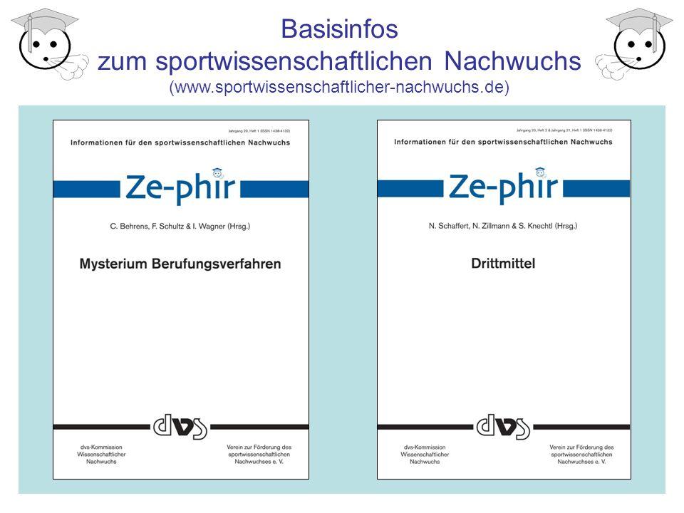 Informationsquellen Internetauftritt der Kommission und des Vereins: www.sportwissenschaftlicher-nachwuchs.de www.sportwissenschaftlicher-nachwuchs.de Sportwissenschaftlicher Nachwuchs auf Facebook : www.facebook.com/SportwissenschaftlicherNachwuchs/ www.facebook.com/SportwissenschaftlicherNachwuchs/ Netzwerker der eigenen Hochschule: http://www.sportwissenschaft.de/index.php?id=1950 http://www.sportwissenschaft.de/index.php?id=1950 Mailing-Liste SPORTWISS: http://lists.ruhr-uni-bochum.de/mailman/listinfo/sportwiss http://lists.ruhr-uni-bochum.de/mailman/listinfo/sportwiss Informationsseiten zur Promotion von der dvs: http://www.sportwissenschaft.de/ http://www.sportwissenschaft.de/