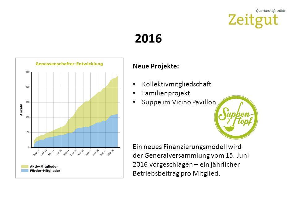 2016 Neue Projekte: Kollektivmitgliedschaft Familienprojekt Suppe im Vicino Pavillon Ein neues Finanzierungsmodell wird der Generalversammlung vom 15.