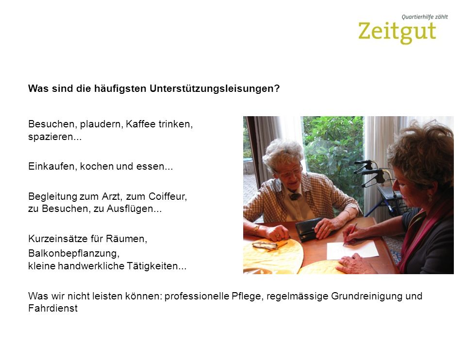 Vernetzung Durch die aktive Mitarbeit in der Projektgruppe Vicino gelang Zeitgut ein erster Schritt zu einer gelungenen Vernetzung in der Stadt Luzern.