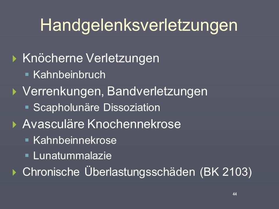 Handgelenksverletzungen  Knöcherne Verletzungen  Kahnbeinbruch  Verrenkungen, Bandverletzungen  Scapholunäre Dissoziation  Avasculäre Knochennekr