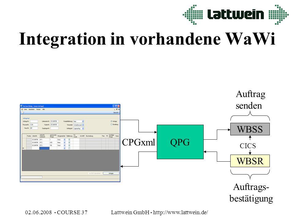 02.06.2008 - COURSE 37Lattwein GmbH - http://www.lattwein.de/ Integration in vorhandene WaWi QPG CPGxml WBSS WBSR Auftrag senden Auftrags- bestätigung CICS