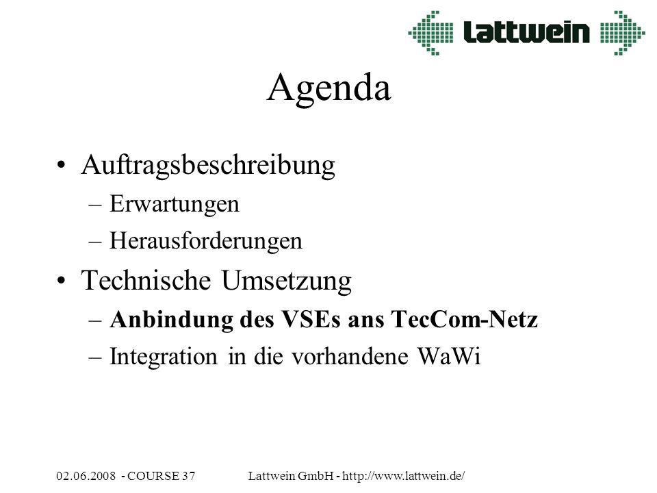 02.06.2008 - COURSE 37Lattwein GmbH - http://www.lattwein.de/ Agenda Auftragsbeschreibung –Erwartungen –Herausforderungen Technische Umsetzung –Anbindung des VSEs ans TecCom-Netz –Integration in die vorhandene WaWi