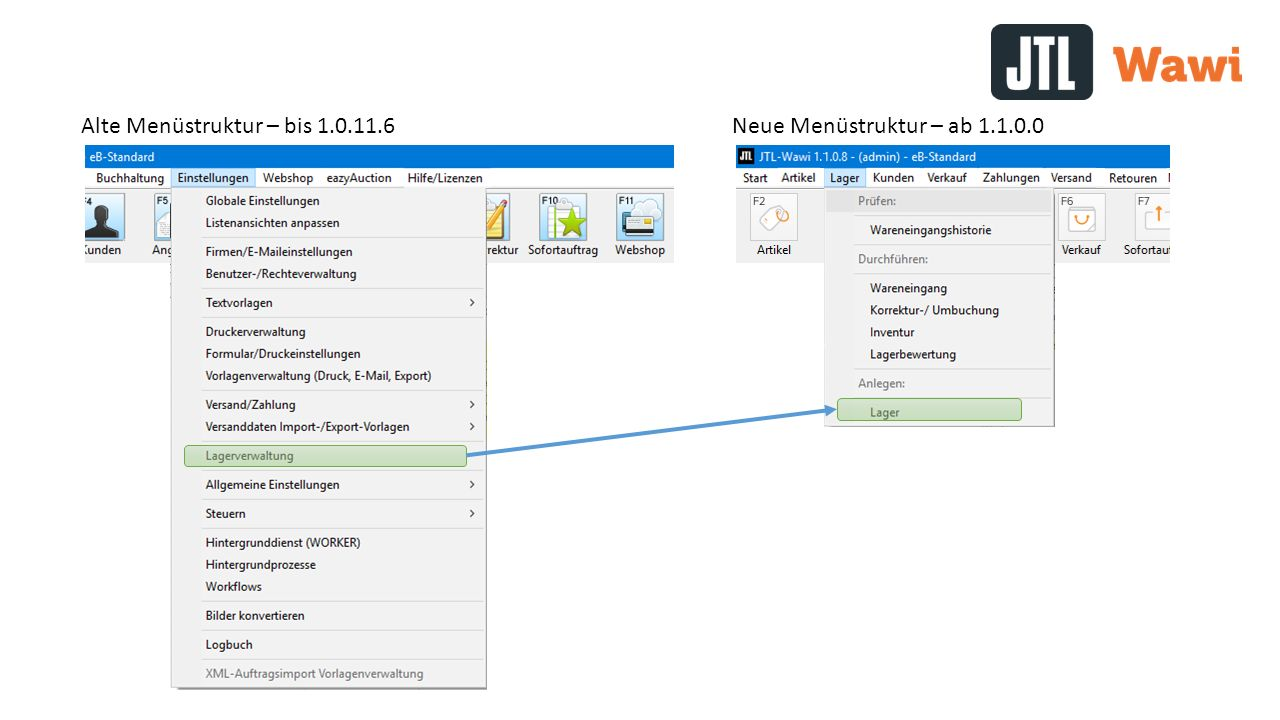 Alte Menüstruktur – bis 1.0.11.6Neue Menüstruktur – ab 1.1.0.0