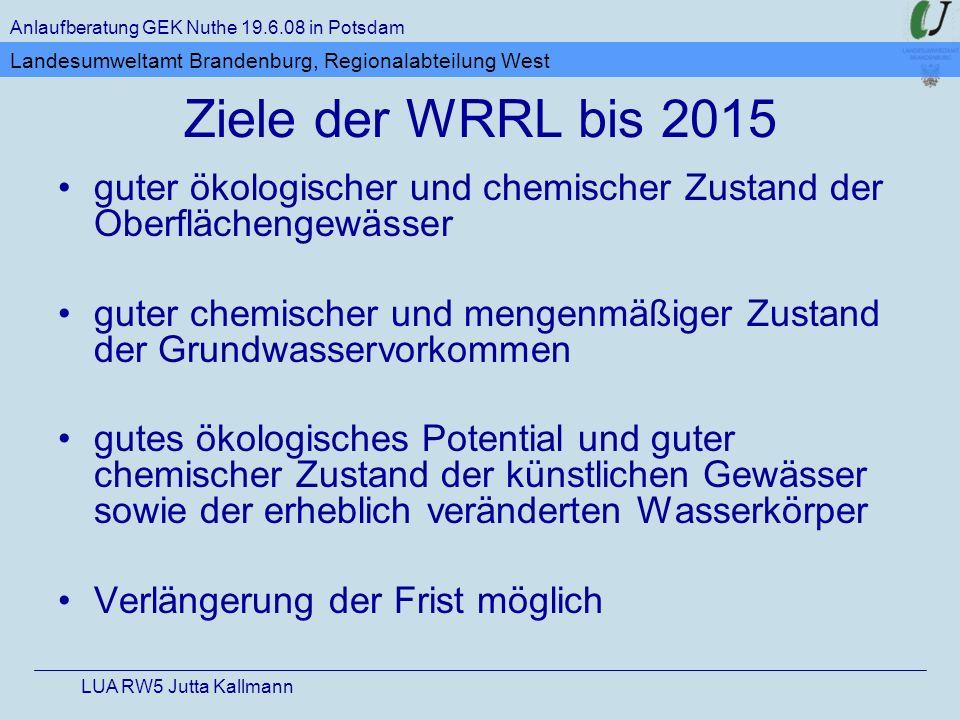 Ziele der WRRL bis 2015 guter ökologischer und chemischer Zustand der Oberflächengewässer guter chemischer und mengenmäßiger Zustand der Grundwasservo