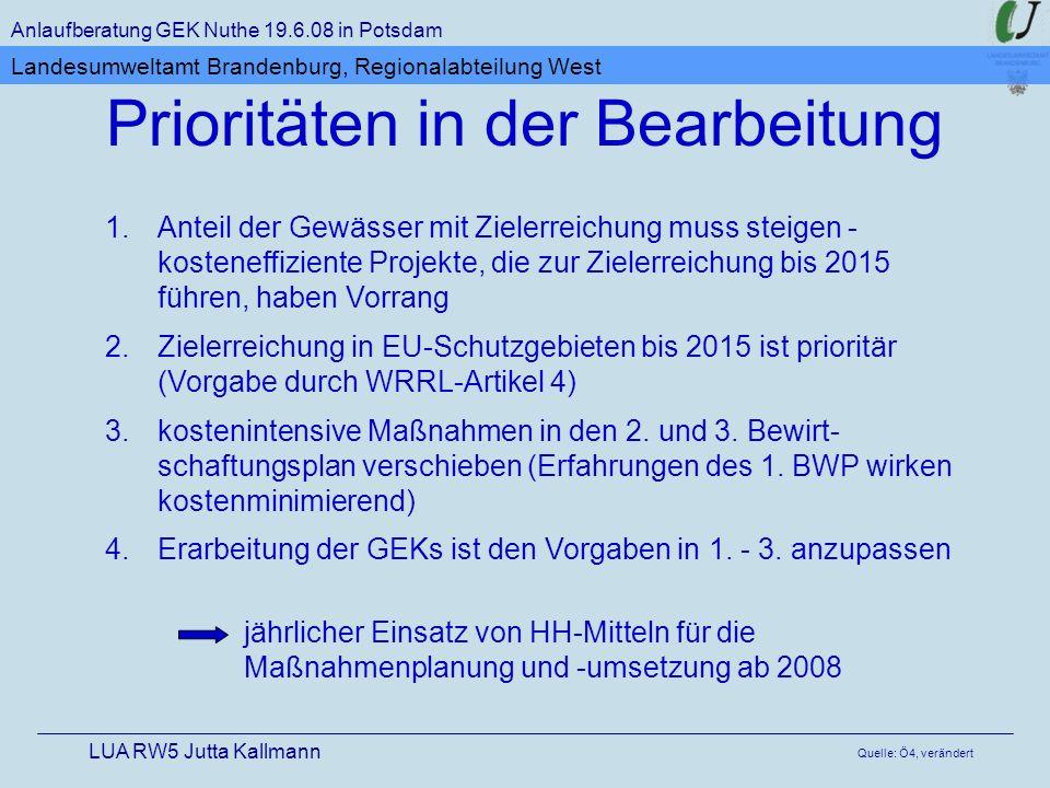 1.Anteil der Gewässer mit Zielerreichung muss steigen - kosteneffiziente Projekte, die zur Zielerreichung bis 2015 führen, haben Vorrang 2.Zielerreichung in EU-Schutzgebieten bis 2015 ist prioritär (Vorgabe durch WRRL-Artikel 4) 3.kostenintensive Maßnahmen in den 2.