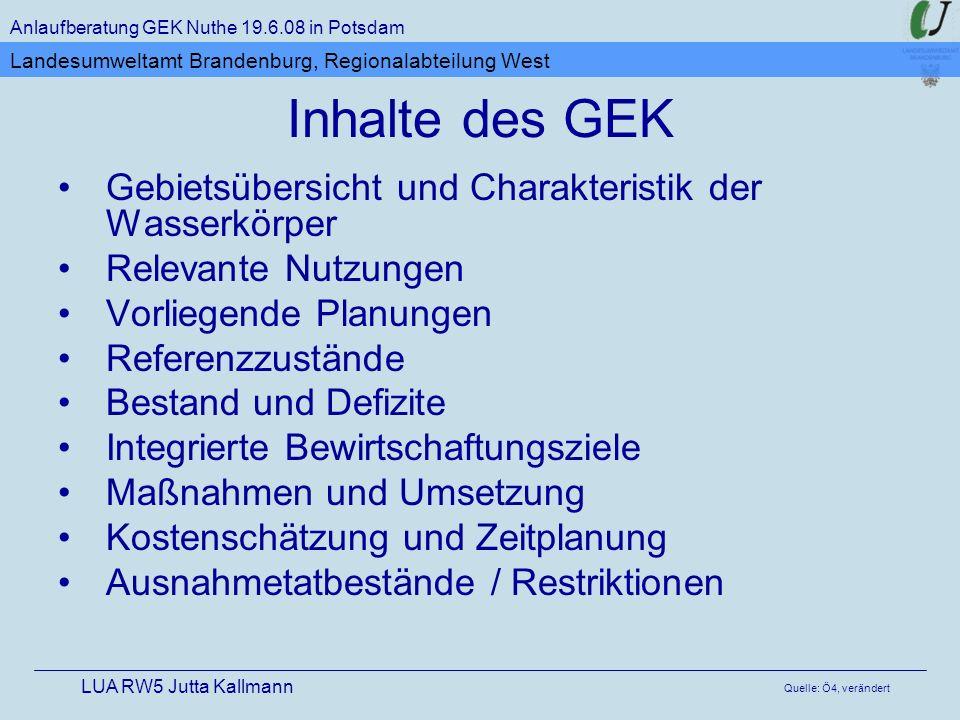 Inhalte des GEK Anlaufberatung GEK Nuthe 19.6.08 in Potsdam LUA RW5 Jutta Kallmann Landesumweltamt Brandenburg, Regionalabteilung West Gebietsübersich