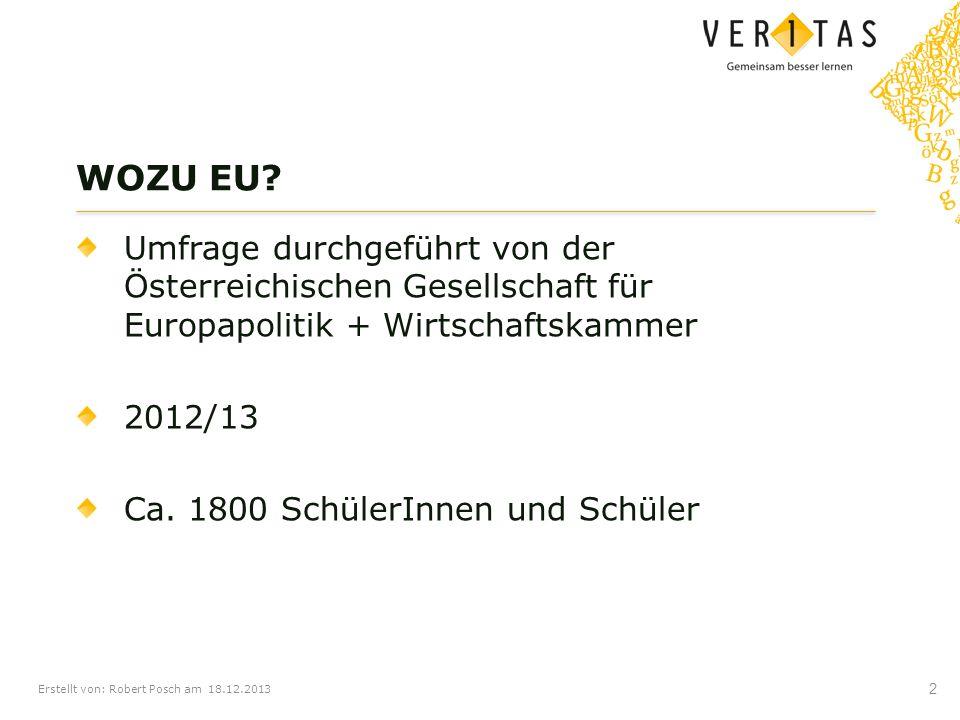 Erstellt von: Robert Posch am 18.12.2013 Umfrage durchgeführt von der Österreichischen Gesellschaft für Europapolitik + Wirtschaftskammer 2012/13 Ca.
