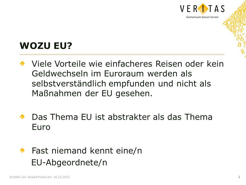 Erstellt von: Robert Posch am 18.12.2013 Viele Vorteile wie einfacheres Reisen oder kein Geldwechseln im Euroraum werden als selbstverständlich empfun