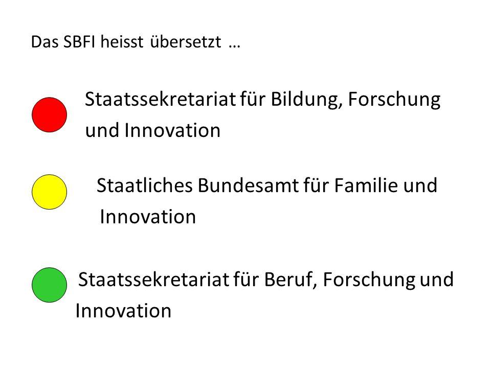 Das SBFI heisst übersetzt … Staatssekretariat für Bildung, Forschung und Innovation Staatliches Bundesamt für Familie und Innovation Staatssekretariat für Beruf, Forschung und Innovation