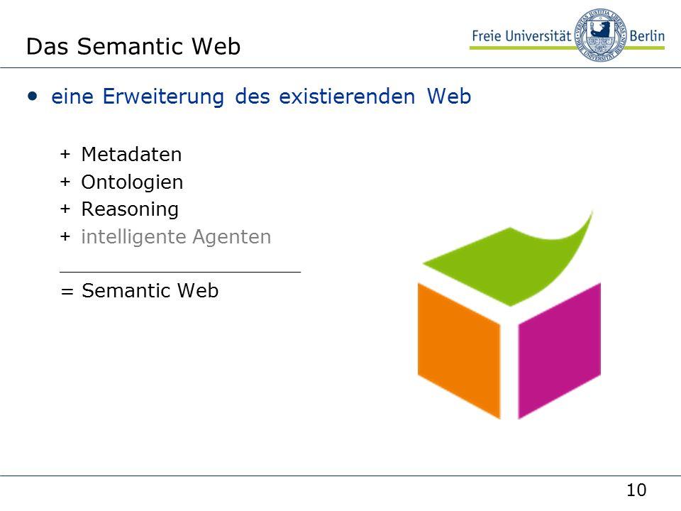 10 Das Semantic Web eine Erweiterung des existierenden Web +Metadaten +Ontologien +Reasoning +intelligente Agenten ____________________ = Semantic Web