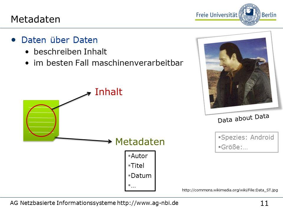 11 Metadaten Daten über Daten beschreiben Inhalt im besten Fall maschinenverarbeitbar AG Netzbasierte Informationssysteme http://www.ag-nbi.de http://