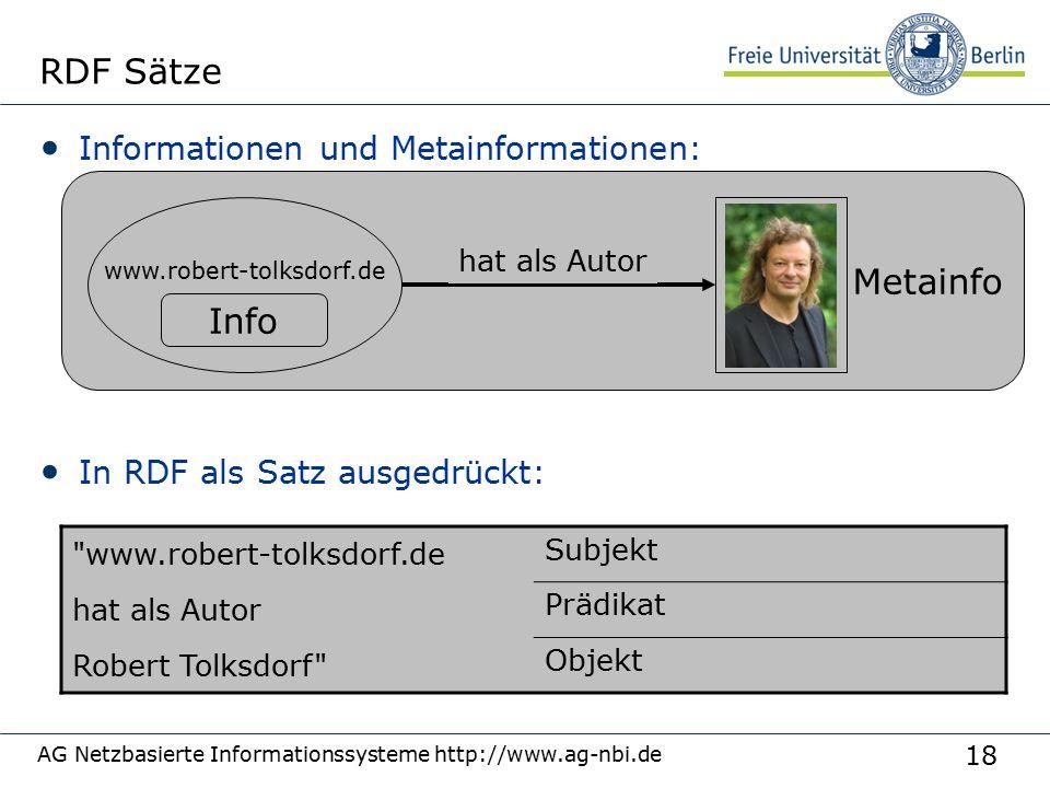 18 AG Netzbasierte Informationssysteme http://www.ag-nbi.de RDF Sätze Informationen und Metainformationen: In RDF als Satz ausgedrückt: Metainfo www.r