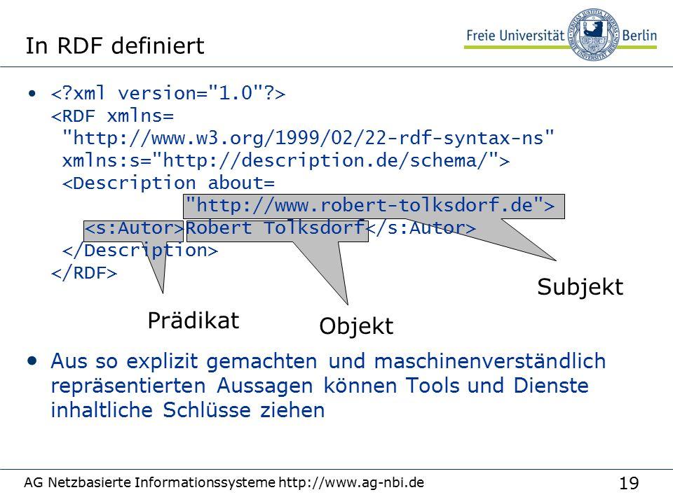 19 AG Netzbasierte Informationssysteme http://www.ag-nbi.de In RDF definiert Robert Tolksdorf Aus so explizit gemachten und maschinenverständlich repr