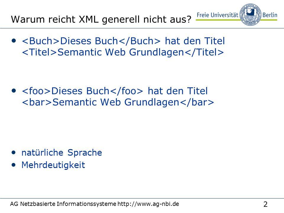 13 AG Netzbasierte Informationssysteme http://www.ag-nbi.de Semantic Web Stack (W3C, 2000)  Quelle: http://www.w3.org/2000/Talks/1206-xml2k-tbl/slide10-0.html
