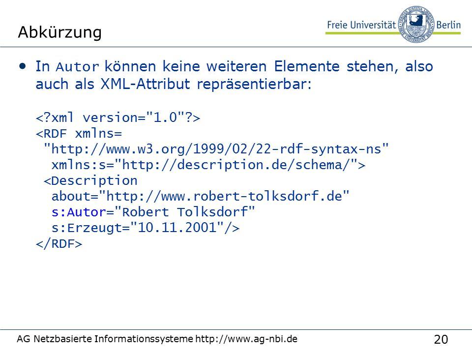 20 AG Netzbasierte Informationssysteme http://www.ag-nbi.de Abkürzung In Autor können keine weiteren Elemente stehen, also auch als XML-Attribut repräsentierbar: