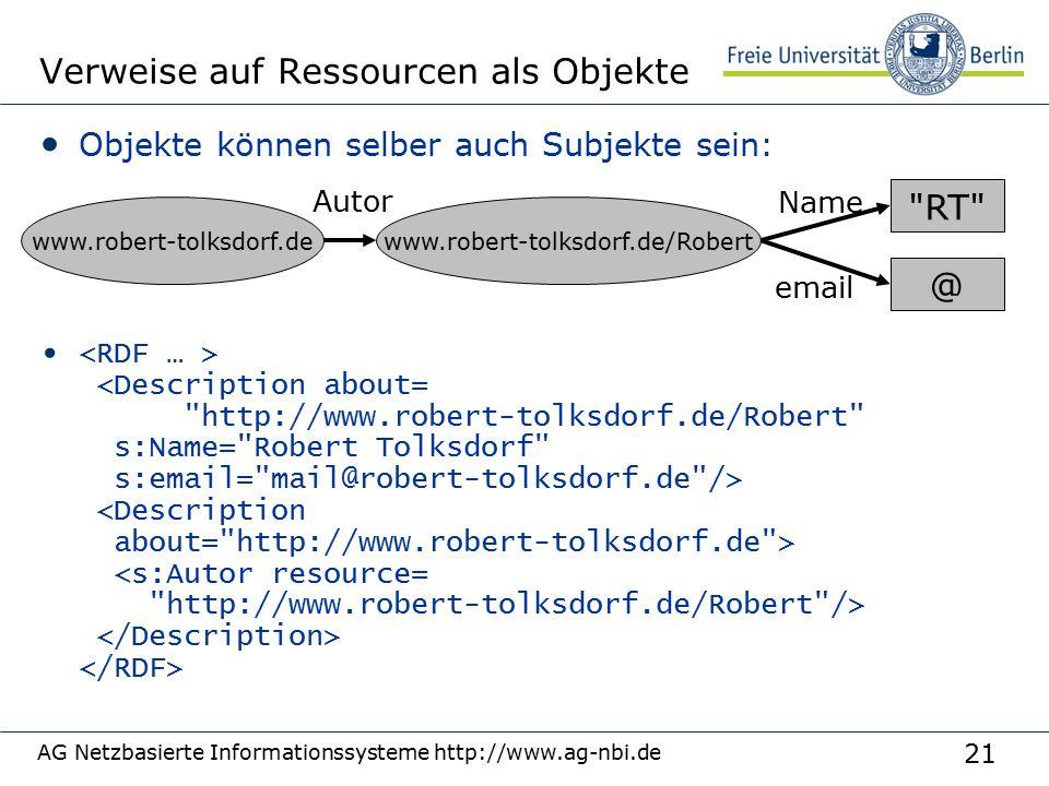 21 AG Netzbasierte Informationssysteme http://www.ag-nbi.de Verweise auf Ressourcen als Objekte Objekte können selber auch Subjekte sein: www.robert-tolksdorf.de Autor www.robert-tolksdorf.de/Robert @ RT Name email