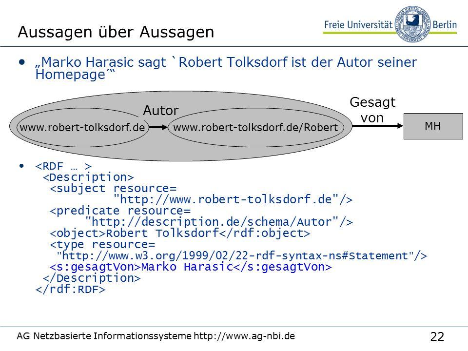 """22 AG Netzbasierte Informationssysteme http://www.ag-nbi.de Aussagen über Aussagen """"Marko Harasic sagt `Robert Tolksdorf ist der Autor seiner Homepage"""