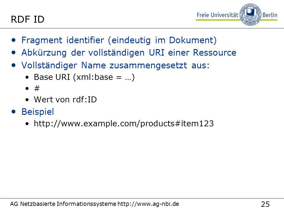 25 AG Netzbasierte Informationssysteme http://www.ag-nbi.de RDF ID Fragment identifier (eindeutig im Dokument) Abkürzung der vollständigen URI einer Ressource Vollständiger Name zusammengesetzt aus: Base URI (xml:base = …) # Wert von rdf:ID Beispiel http://www.example.com/products#item123