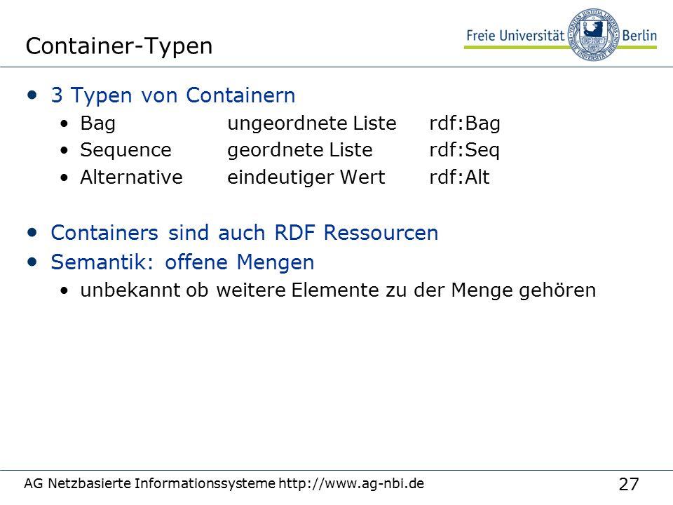 27 AG Netzbasierte Informationssysteme http://www.ag-nbi.de Container-Typen 3 Typen von Containern Bagungeordnete Listerdf:Bag Sequencegeordnete Listerdf:Seq Alternativeeindeutiger Wertrdf:Alt Containers sind auch RDF Ressourcen Semantik: offene Mengen unbekannt ob weitere Elemente zu der Menge gehören