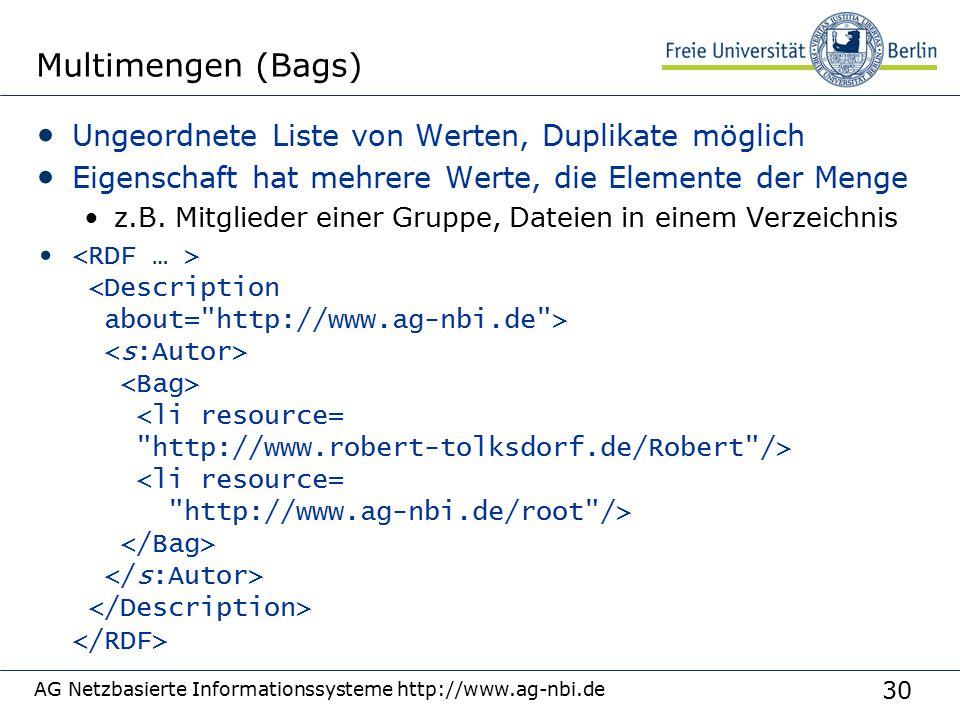 30 AG Netzbasierte Informationssysteme http://www.ag-nbi.de Multimengen (Bags) Ungeordnete Liste von Werten, Duplikate möglich Eigenschaft hat mehrere Werte, die Elemente der Menge z.B.