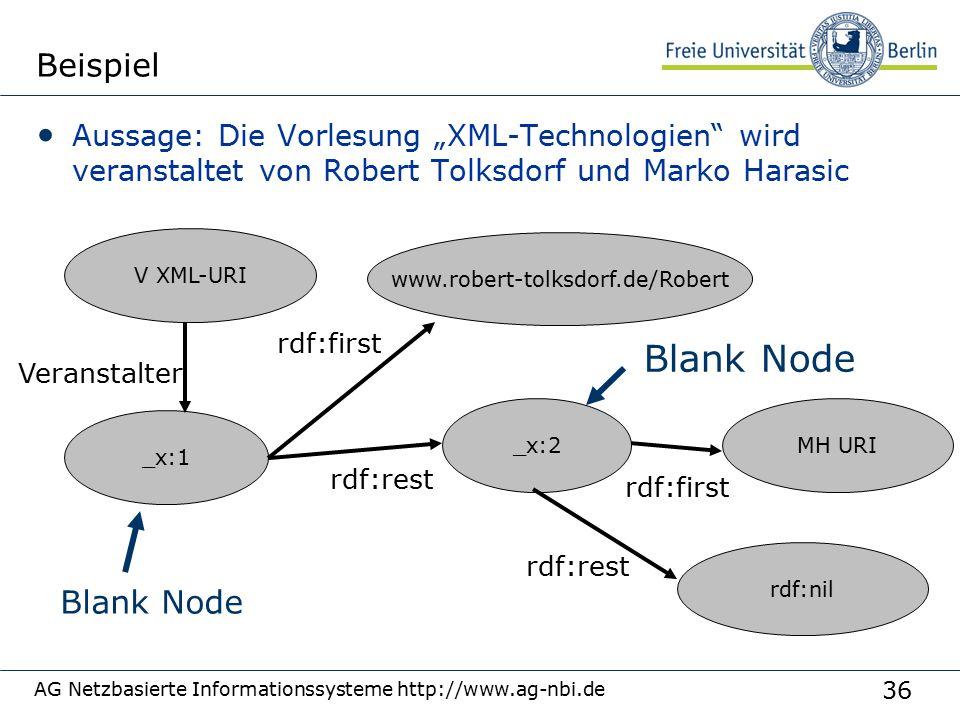 """36 AG Netzbasierte Informationssysteme http://www.ag-nbi.de Beispiel Aussage: Die Vorlesung """"XML-Technologien"""" wird veranstaltet von Robert Tolksdorf"""