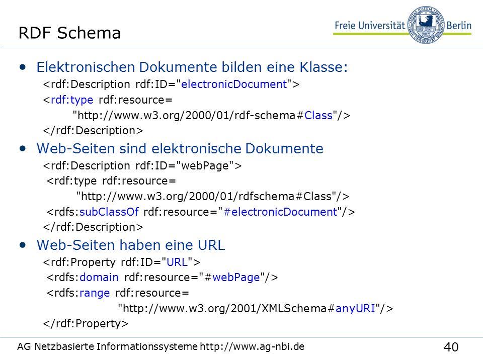 40 AG Netzbasierte Informationssysteme http://www.ag-nbi.de RDF Schema Elektronischen Dokumente bilden eine Klasse: <rdf:type rdf:resource= http://www.w3.org/2000/01/rdf-schema#Class /> Web-Seiten sind elektronische Dokumente <rdf:type rdf:resource= http://www.w3.org/2000/01/rdfschema#Class /> Web-Seiten haben eine URL <rdfs:range rdf:resource= http://www.w3.org/2001/XMLSchema#anyURI />