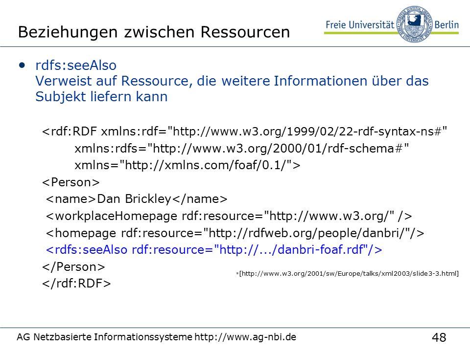 48 AG Netzbasierte Informationssysteme http://www.ag-nbi.de Beziehungen zwischen Ressourcen rdfs:seeAlso Verweist auf Ressource, die weitere Informationen über das Subjekt liefern kann <rdf:RDF xmlns:rdf= http://www.w3.org/1999/02/22-rdf-syntax-ns# xmlns:rdfs= http://www.w3.org/2000/01/rdf-schema# xmlns= http://xmlns.com/foaf/0.1/ > Dan Brickley  [http://www.w3.org/2001/sw/Europe/talks/xml2003/slide3-3.html]