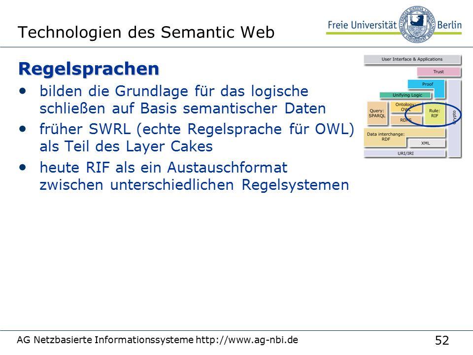 52 Technologien des Semantic WebRegelsprachen bilden die Grundlage für das logische schließen auf Basis semantischer Daten früher SWRL (echte Regelsprache für OWL) als Teil des Layer Cakes heute RIF als ein Austauschformat zwischen unterschiedlichen Regelsystemen AG Netzbasierte Informationssysteme http://www.ag-nbi.de