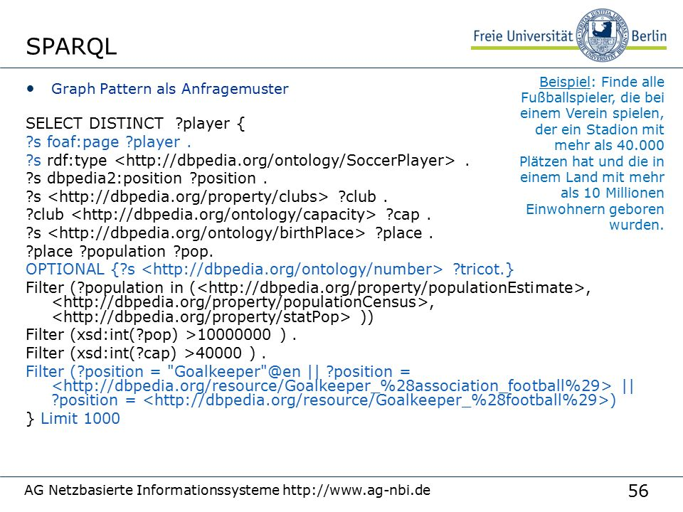 56 SPARQL Graph Pattern als Anfragemuster SELECT DISTINCT player { s foaf:page player.