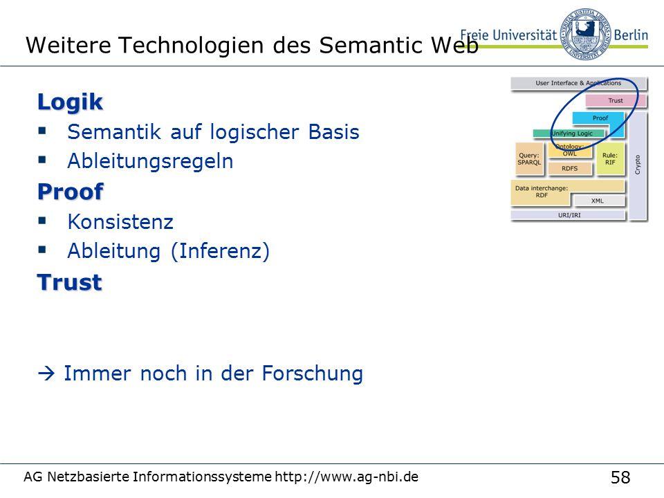 58 AG Netzbasierte Informationssysteme http://www.ag-nbi.de Weitere Technologien des Semantic WebLogik  Semantik auf logischer Basis  AbleitungsregelnProof  Konsistenz  Ableitung (Inferenz)Trust  Immer noch in der Forschung
