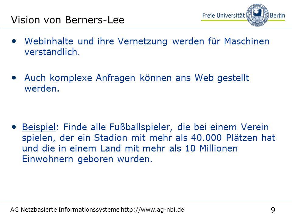 9 Vision von Berners-Lee Webinhalte und ihre Vernetzung werden für Maschinen verständlich.