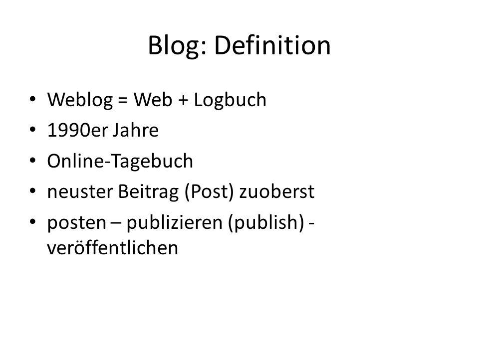 Blog: Definition Weblog = Web + Logbuch 1990er Jahre Online-Tagebuch neuster Beitrag (Post) zuoberst posten – publizieren (publish) - veröffentlichen