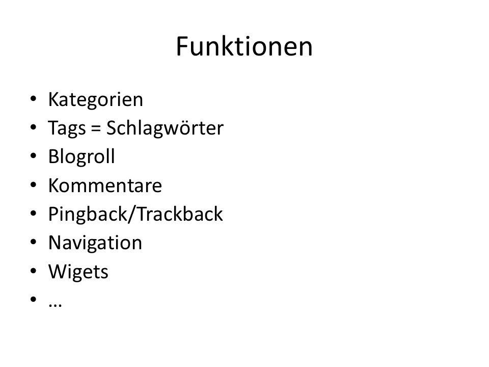 Funktionen Kategorien Tags = Schlagwörter Blogroll Kommentare Pingback/Trackback Navigation Wigets …